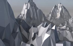 digital art, mountain, Cinema 4D, low poly