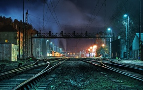 lights, night, photography, train station, HDR, train