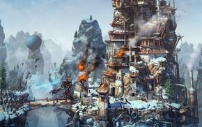 fantasy art, robot, mountain, wallhaven, steampunk