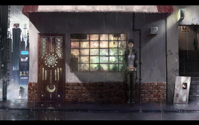 произведение искусства, лестница, кирпичи, окно, девушки из аниме, дверь