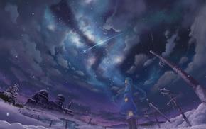 winter, anime girls, snow, shooting stars, stars, night
