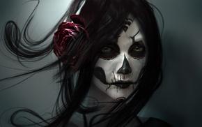 череп, девушка, лицо, карие глаза, темные волосы, произведение искусства, роза, цифровое искусство, смотрит в глаза