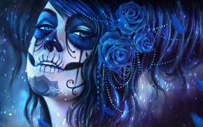 rose, MagicnaAnavi, Sugar Skull, blue flowers, artwork