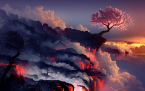 trees, fantasy art, cherry blossom, album artwork, nature, artwork