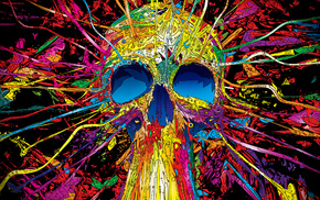 colorful, Matei Apostolescu, artwork, digital art, psychedelic, skull