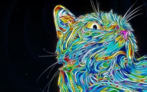 colorful, cat, psychedelic, Fractalius, Matei Apostolescu