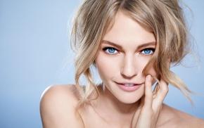 лицо, крупным планом, блондинка, девушка, улыбка, голубые глаза