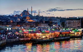 lights, architecture, coast, Turkey, mosques, boat