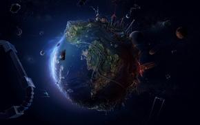 космос, цифровое искусство, Земля, футуризм, спутник, аниме, дорога, планета, абстрактные