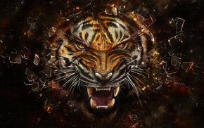 тигр, животные, абстрактные, цифровое искусство