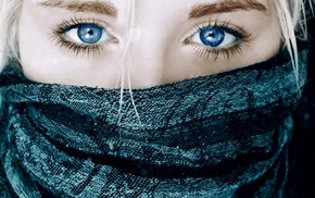 white hair, eyes, girl, blue eyes