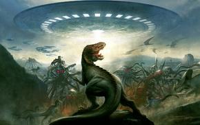 dinosaurs, UFO, aliens