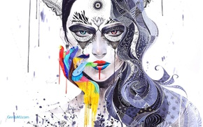 Minjae Lee, girl, surreal, artwork, mosaic, painting