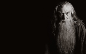 sepia, The Lord of the Rings, dark background, movies, simple background, Ian McKellen