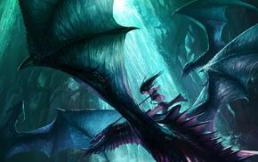 elves, Chenbo, dragon, fantasy art