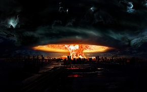 fire, nuclear, explosion, apocalyptic, mushroom clouds