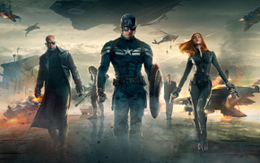 Bucky Barnes, Chris Evans, Captain America, Samuel L. Jackson, Scarlett Johansson, Nick Fury