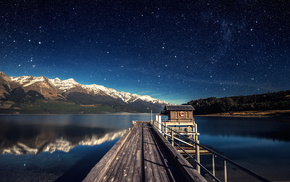 reflection, stars, night, blue, mountain, water