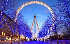 path, trees, blue, christmas lights, London Eye, ferris wheel
