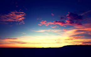 тучи, небо, закат, солнце