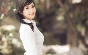 белые, Китай, хвостик, темные глаза, брюнетка, азиатка, блузки