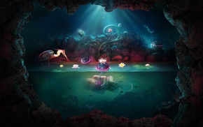 digital art, water, rock, lily pads, Adam Spizak, colorful