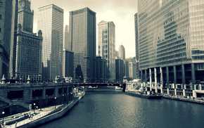 urban, city, building, river, Chicago
