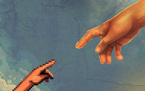 pixel art, pixelated, The Creation of Adam