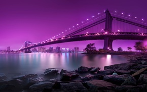 bridge, New York City, sea, Brooklyn, night, Manhattan Bridge