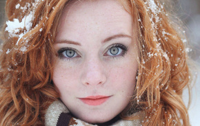 pale, Freyja Vanden Broucke, redhead, long hair, model, snow