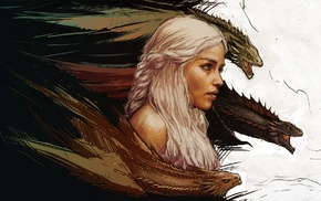 Game of Thrones, girl, anime, dragon, white hair, A Song of Ice and Fire
