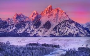 пейзаж, горы, зима