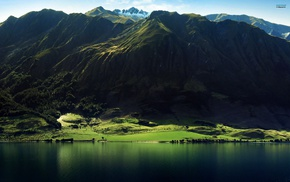 горы, вода, природа, пейзаж, озеро