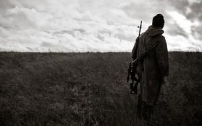 солдат, пулемет