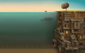 fantasy art, ladders, fish, underwater, Jacek Yerka, anime