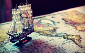 map, sailing ships, world map, world, old map, model ship