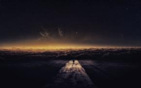 облака, фантастическое исскуство, дорога, звезды, небо