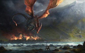 The Hobbit, The Lord of the Rings, fantasy art, J. R. R. Tolkien, Smaug, dragon