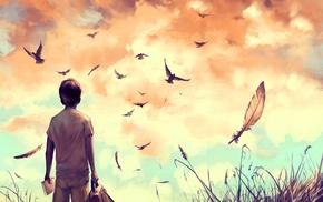 feathers, grass, books, birds, backpacks, artwork