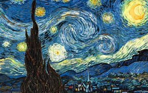 painting, surreal, stars, The Starry Night, classic art