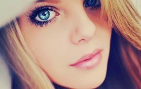 голубые глаза, глаза, крупным планом, блондинка
