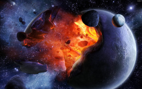 planet, space, explosion