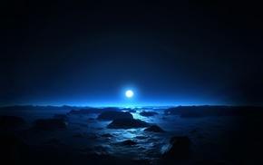 вода, луна, синий