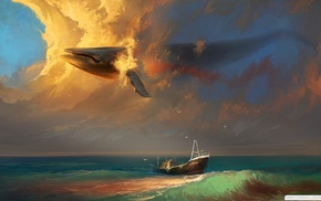 clouds, whale, fantasy art, boat, surreal