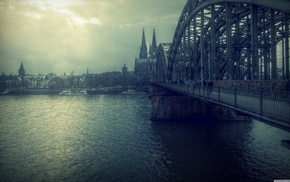 Cologne, river, Cologne Cathedral, bridge, Germany