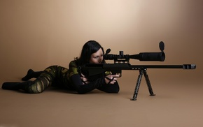 girl, dark hair, weapon, sniper rifle
