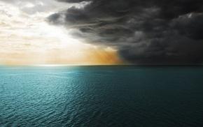 синий, море, облака, серый, небо