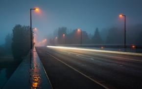 cityscape, mist, long exposure, road, rain, night