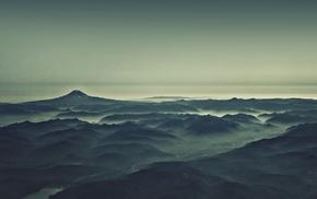 photo manipulation, sea, sunrise, hill, digital toning, water