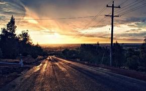 sunset, asphalt, trees, road, photo manipulation, HDR